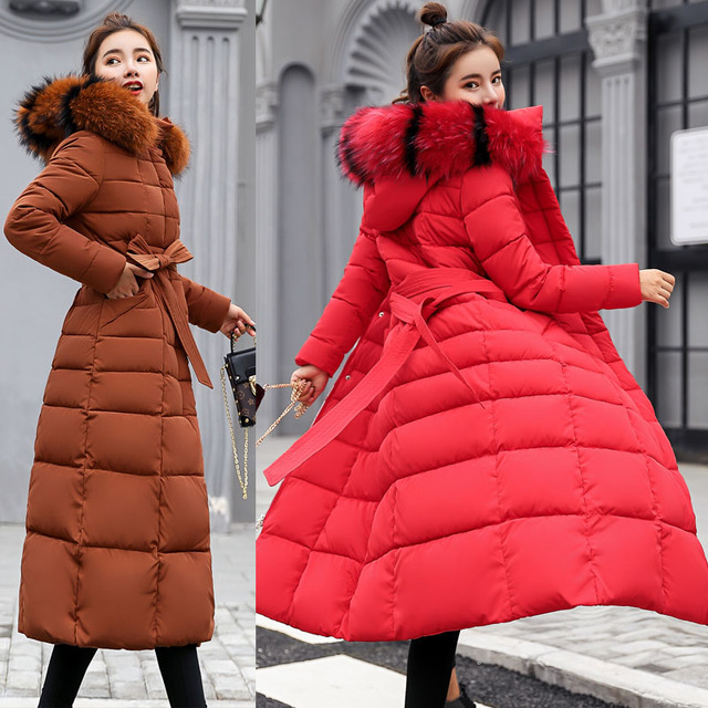 Winter jacket women's warm fashion bow belt fox fur collar coat long dress women's thick coat 39