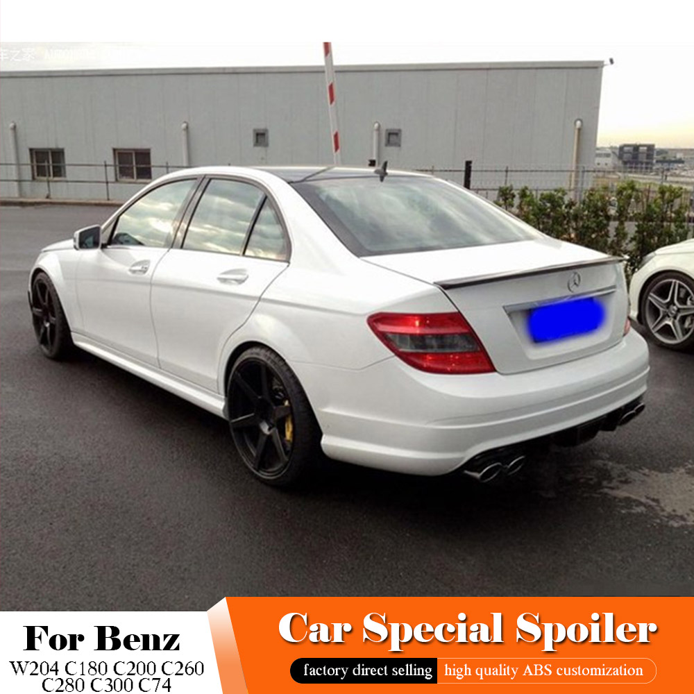 AITWATT For <font><b>Benz</b></font> W204 C180 C200 C260 C280 <font><b>C300</b></font> C74 Black <font><b>Spoiler</b></font> ABS Material Car <font><b>Rear</b></font> Wing Primer Color <font><b>Rear</b></font> White <font><b>Spoiler</b></font> 1pcs image