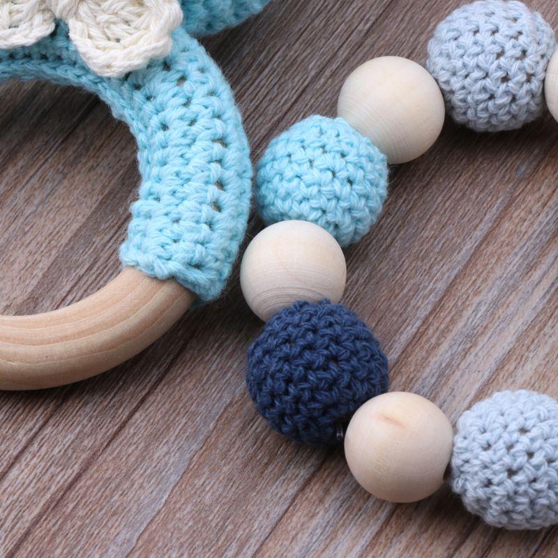 Bebê mordedor de madeira pulseira conjunto crochê