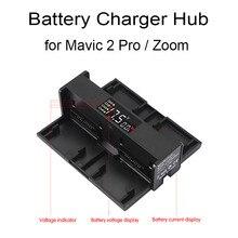 Concentrador de carga de batería 4 en 1 para Dron DJI Mavic 2 Pro Zoom, banda de Carga inteligente portátil, pantalla de dígitos, accesorios LED