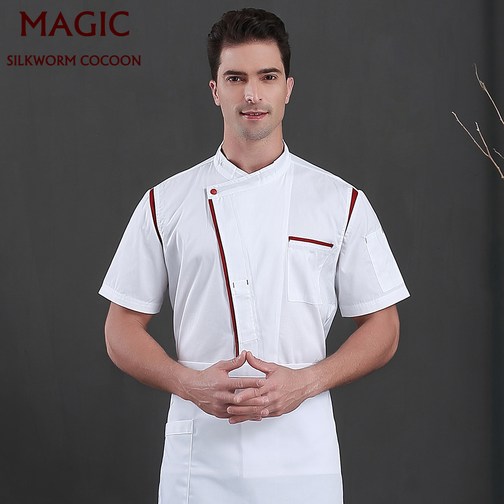 Chef Uniforms For Unisex Short-sleeve Single-breasted Breathable Shirt Bakery Restaurant Hotel Waiter Workwear Chef Work Jackets