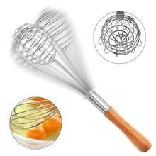 Punho de madeira multifuncional aço inoxidável mão ovo batedores cozinha gadgets ovo mexendo batedor rotativo acessórios da cozinha
