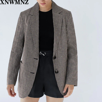 Za Check Blazer featuring a lapel collar long sleeves front pockets and front button fastening XNWMNZ burgundy stand collar long sleeves top with button details