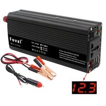 محول طاقة (إنفيرتر) من 12 فولت تيار ثابت إلى 220 فولت تيار متناوب للسيارة, USB مزدوج شاحن مشترك كهربائي موجة جيبية معدلة بمقبس عالمي 2000W