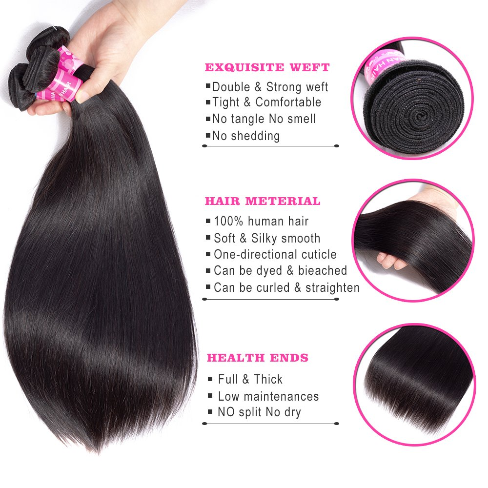 Luvin 28 30 40 Inch  Bone Straight  Bundles Natural Deals Products Raw Virgin Double Drawn Wholesale 3