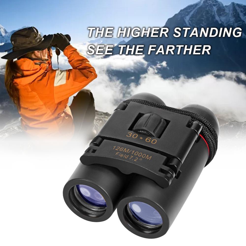 Mini Portable Binoculars Telescopes 30 x 60 Compact Binoculars Folding Telescope with Day Night Vision Traveling Pocket Binoculars for Bird Watching