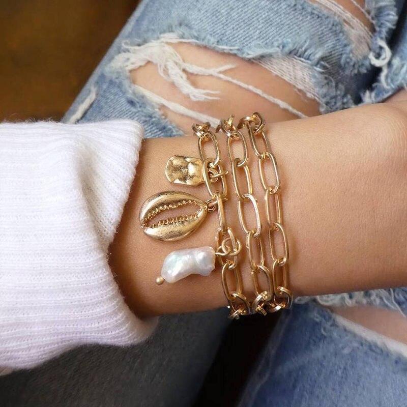 5Pcs/set Bohemian Gold color Moon Leaf Crystal Opal Open Bracelet Set for Women Punk Boho Beach Bangle Jewelry Gift 14