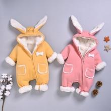 Зимний комбинезон, верхняя одежда для новорожденных мальчиков и девочек, теплый комбинезон с карманами, комбинезон, пальто с капюшоном, верхняя одежда, милый детский зимний комбинезон с рисунком