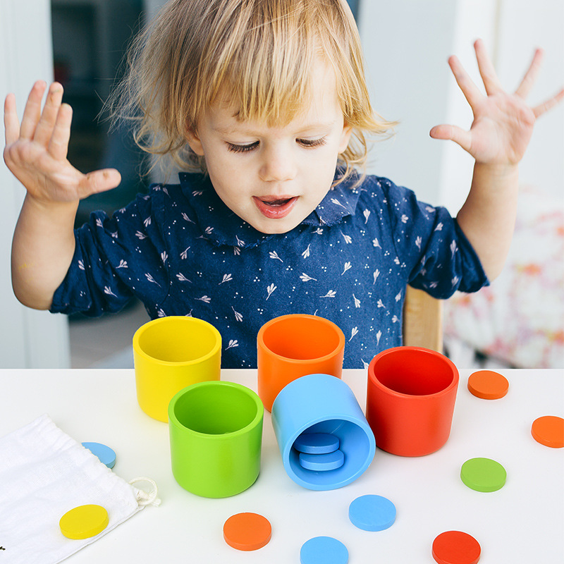 Montessori Colour Class Cup Toys Colour Classification Cup Colorful Coins With Wood Cups Colors Learning Training Preschool 2-4