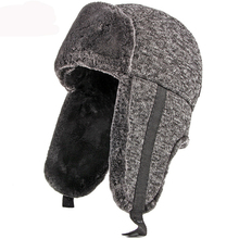 HT2846 Autumn Winter Hat Thick Warm Earflap Trapper Cap Men Bomber