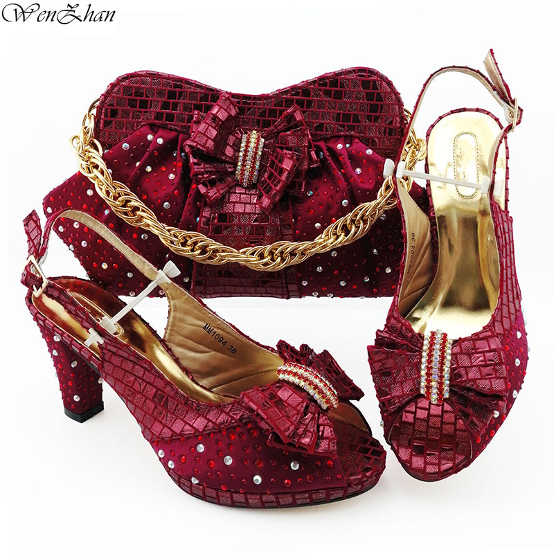 Elegant Wine Color Italian Women Shoes 8.5cm And Bag To Match Set Nigerian High Heels Party Shoes And Bag Set 38-43 B98-5