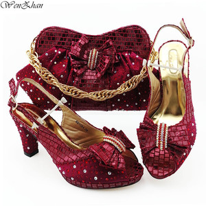 Image 5 - Italian Women Shoes 8.5cm And Bag To Match Set Royal blue Color Nigerian High Heels Party Shoes And Bag Set 38 43 B98 5