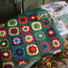 Almofada colorida de crochê, proteção de mão e gancho para festa, tapete de mesa de crochê