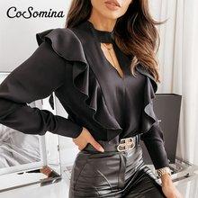 Сексуальная Женская блузка с оборками cosomina рубашка элегантный