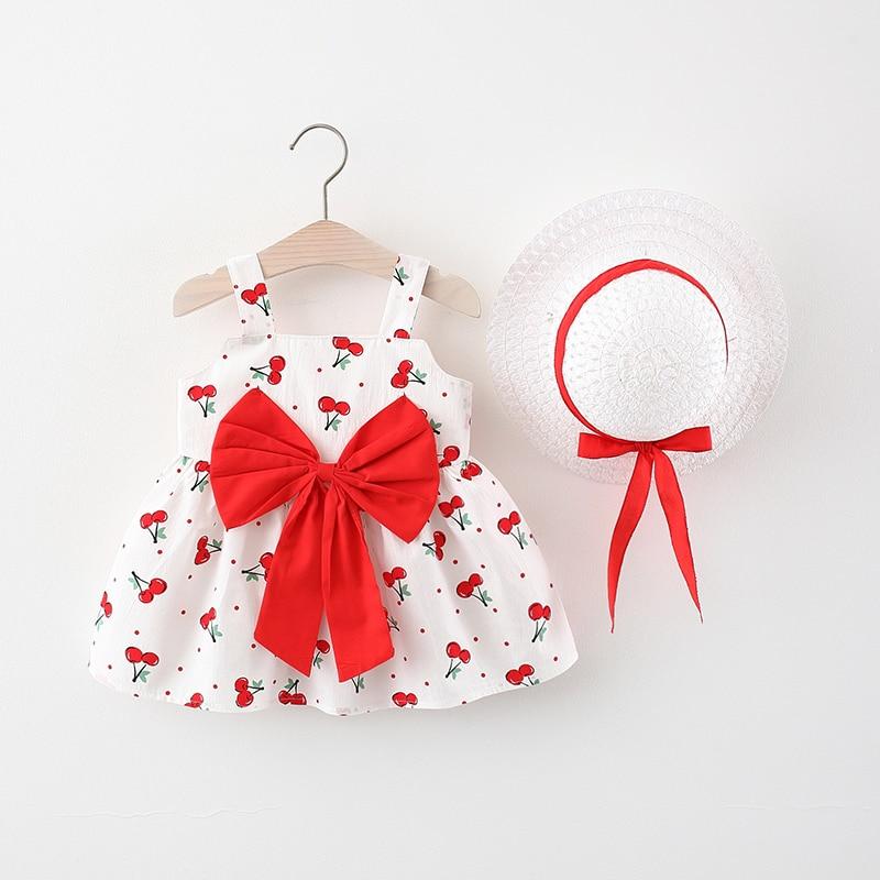 С вишневым узором для маленьких девочек; Летнее Детское платье без рукавов для девочек детское хлопковое платье на день рождения вечерние д...