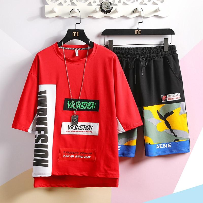 Men Summer Sportswear Sets Tracksuits Hip Hop Loose Sets Jogger Suits For Men High Quality Men Cotton T-shirt+Shorts Sets