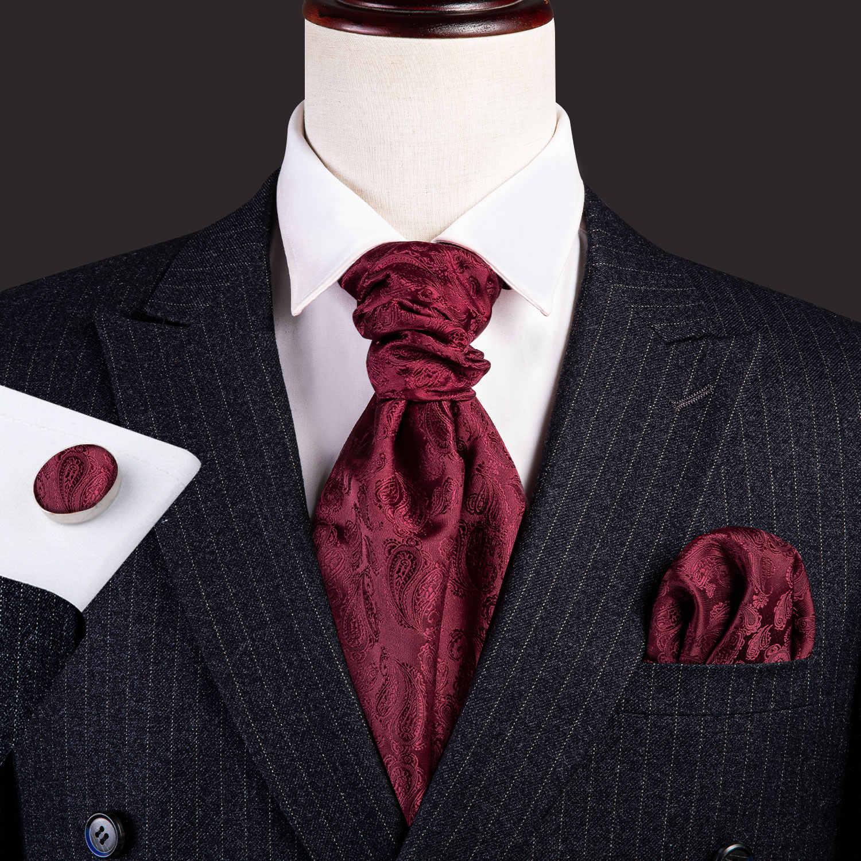 ZorYer Pajaritas Hombres Vintage Wedding Formal Cravat Ascot Scrunch Gentleman Polyester Silk Neck Tie Hanky Set S601