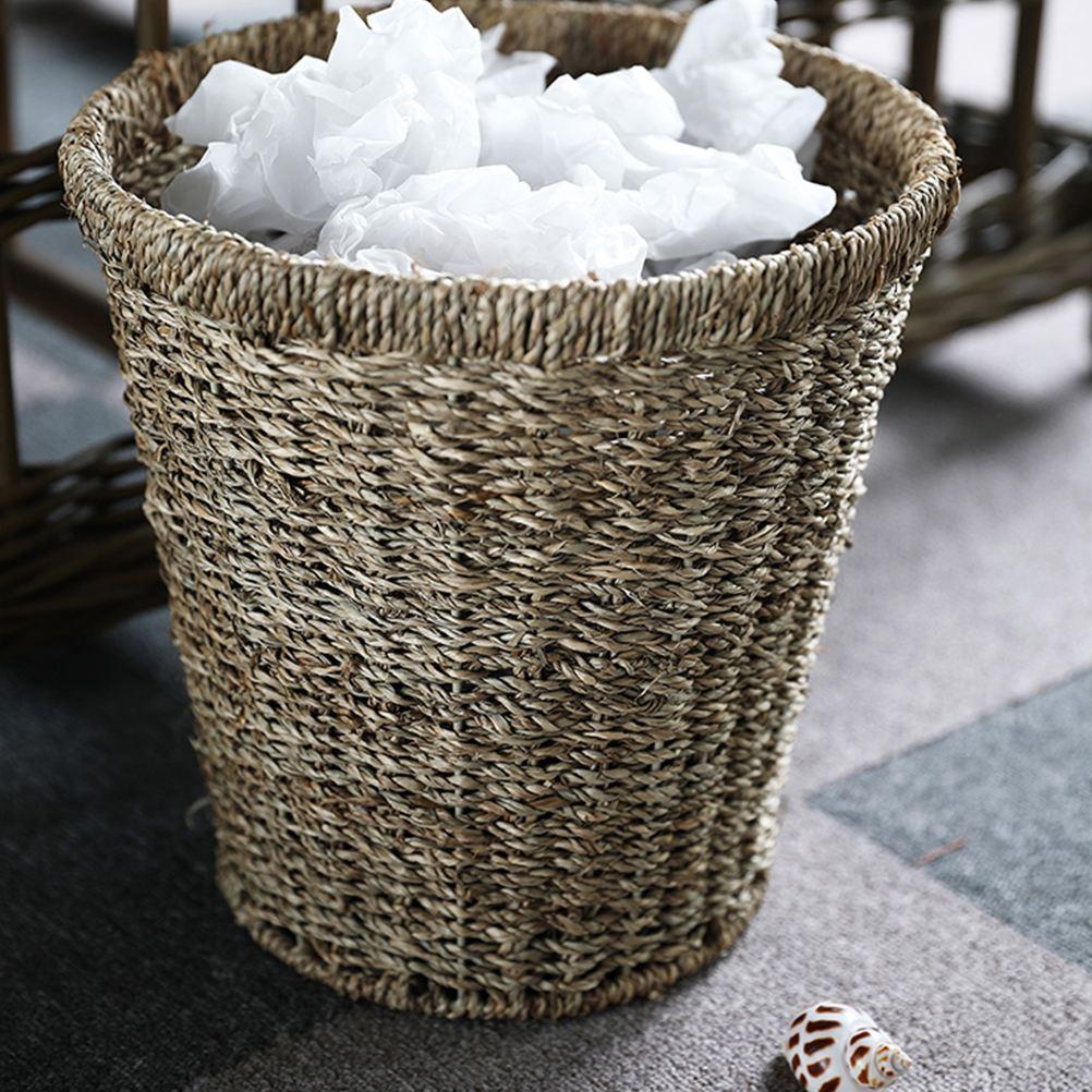 Cubo de basura tejida para el hogar, cesta para basura tejida de ratán con tapa, cubo de basura tejido de paja, para el hogar y la Oficina, 1 ud.