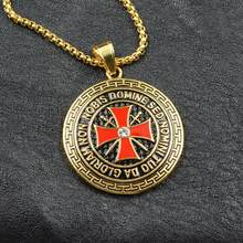 New Stainless Steel Templar Circle Black Enamel Cross Necklaces Gold Color Chain Grooved Biker Punk Pendant Necklace Men Jewelry(China)