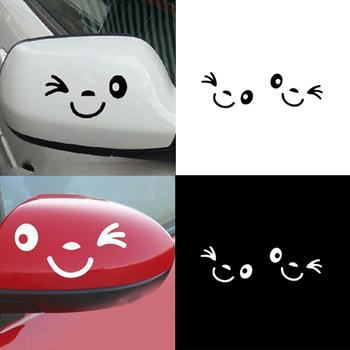 1 Pair Lovely Smiling Face Car Rearview Mirror Sticker Reflective Decal Decor Removable Car Decoration 11cm x 5cm image