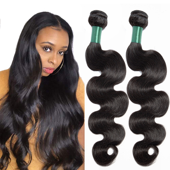 MISS LISA 28 30 Inch Human Hair Bundles Body Wave Hair Bundles Peruvian Hair Weave Bundles Non Remy Natural Color Hair Extension image