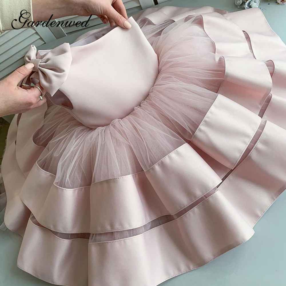 Puffy Pink Flower Girl Dresses One Shoulder Tiered Skirt Baby Girl Wedding Party Dresses Bow Short Satin First Communion Dresses