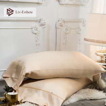 Liv-Esthete Luxury 100% Silk Pillowcase 25 Momme Beauty Healthy Hair Silky Pillow Case Standard For Women Man Bed Pillow Cover