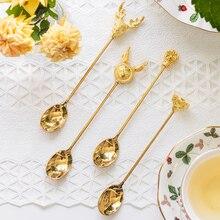 4PCs Cute Golden Elm Cat Claw Rabbit Coffee Spoon Plum Blossom Seasoning Ice Cream Milk Sugar Dessert Tea Honey Stirring Scoop цена 2017