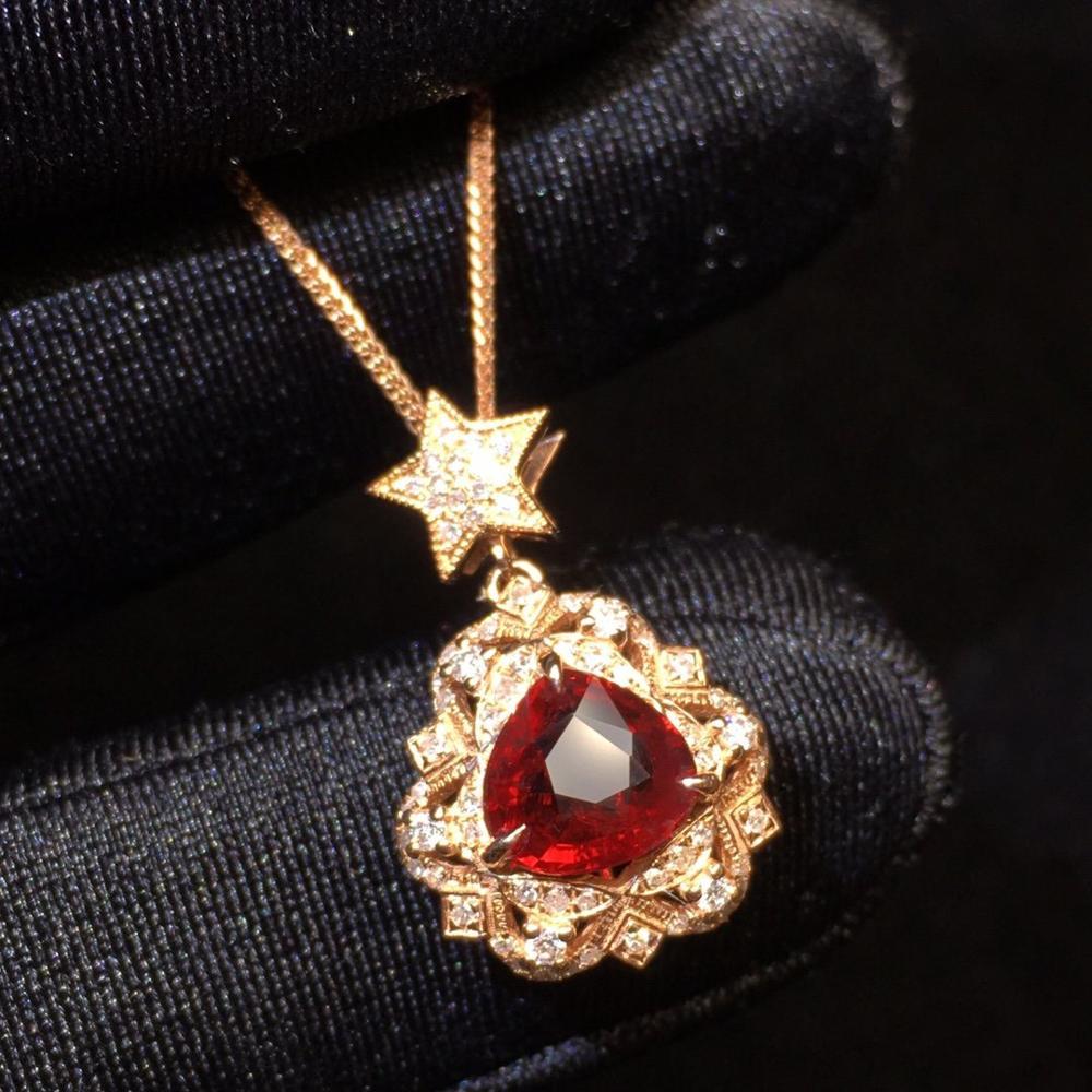 P115 rubis pendentif Fine bijoux 18K or AU750 naturel Unheat rouge rubis gemmes 1.03ct diamant pendentif pierres précieuses colliers pour les femmes