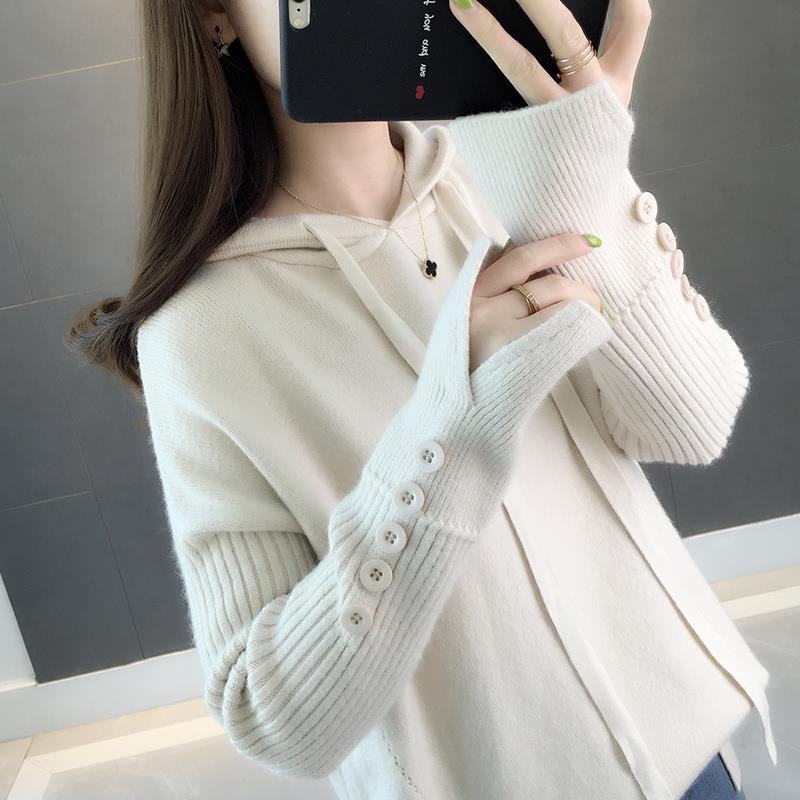 Leisure 2020 Autumn And Winter New Women's Loose Solid Color Button Sweater Women's Pullover Sweater