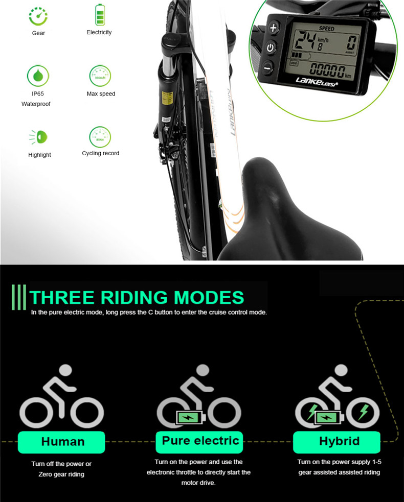 Excellent 26inch Electric mountain bike 36V lithium battery travel electric bicycle lighweight Ebike 6