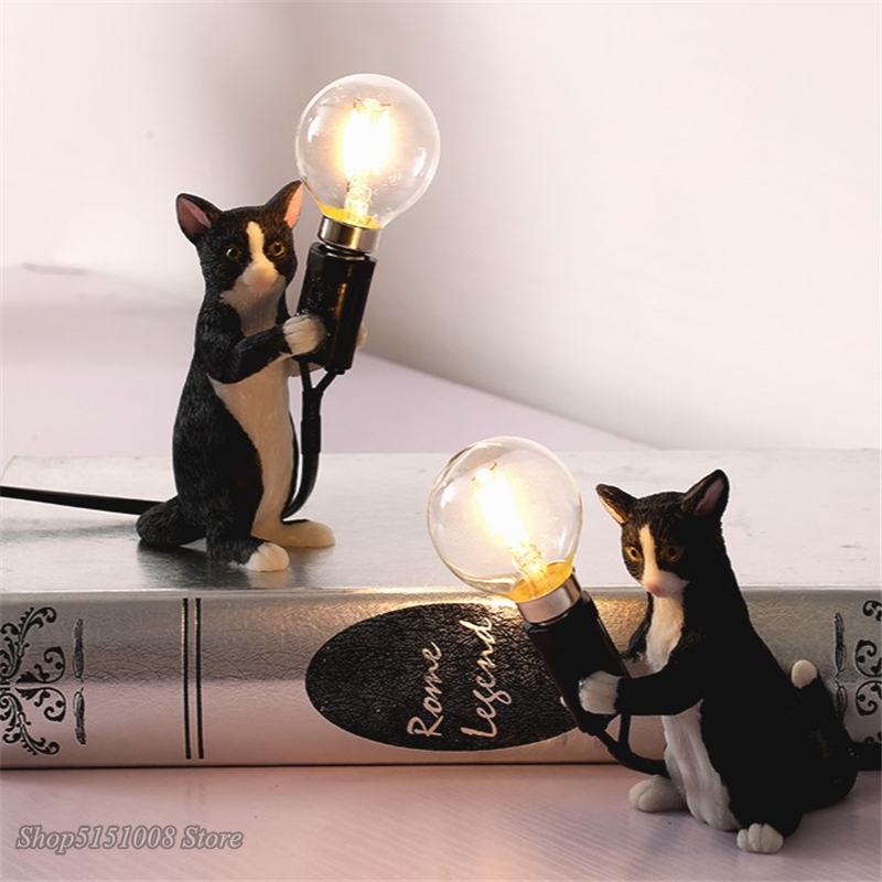 Animals Table Lamps Nordic Children's Bedroom Resin Cat Table Light Desk Lamp Luminaire Home Decor Night Light Lighting Fixtures