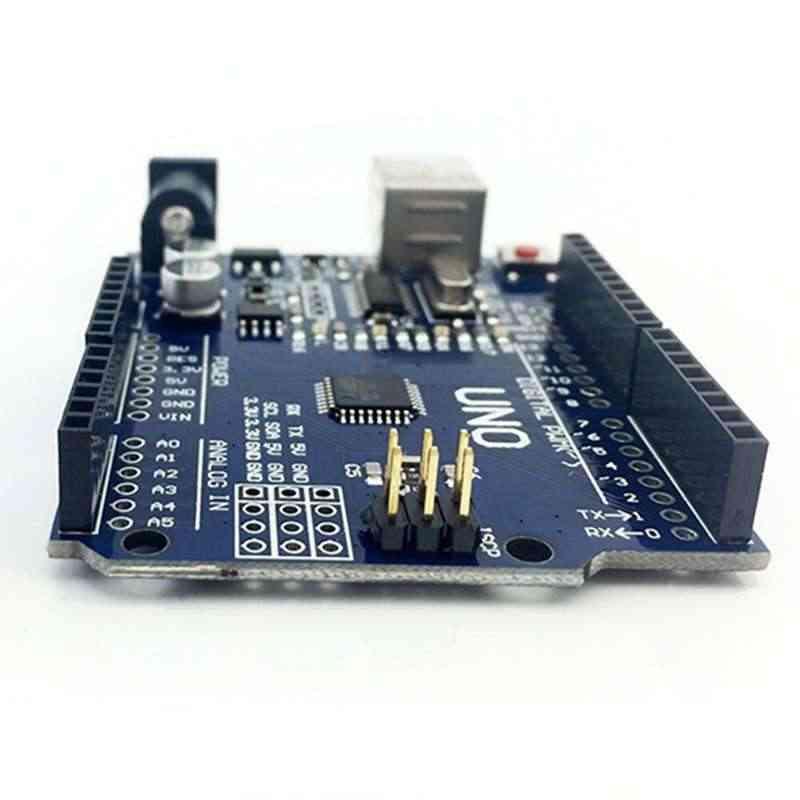 Kit de démarrage pour arduino Uno R3-lot de 6 articles: Uno R3, platine de prototypage, fils de raccordement, câble USB et connecteur de batterie 9V