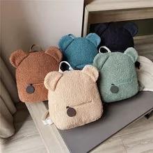 Bagpack Cute Shopping-Rucksacks Women's Travel Portable Children Autumn Lamb Fleece Bear-Shaped
