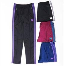 Pantalon de survêtement AWGE à rayures pour hommes et femmes, jogging, cordon de serrage, broderie papillon, à la mode