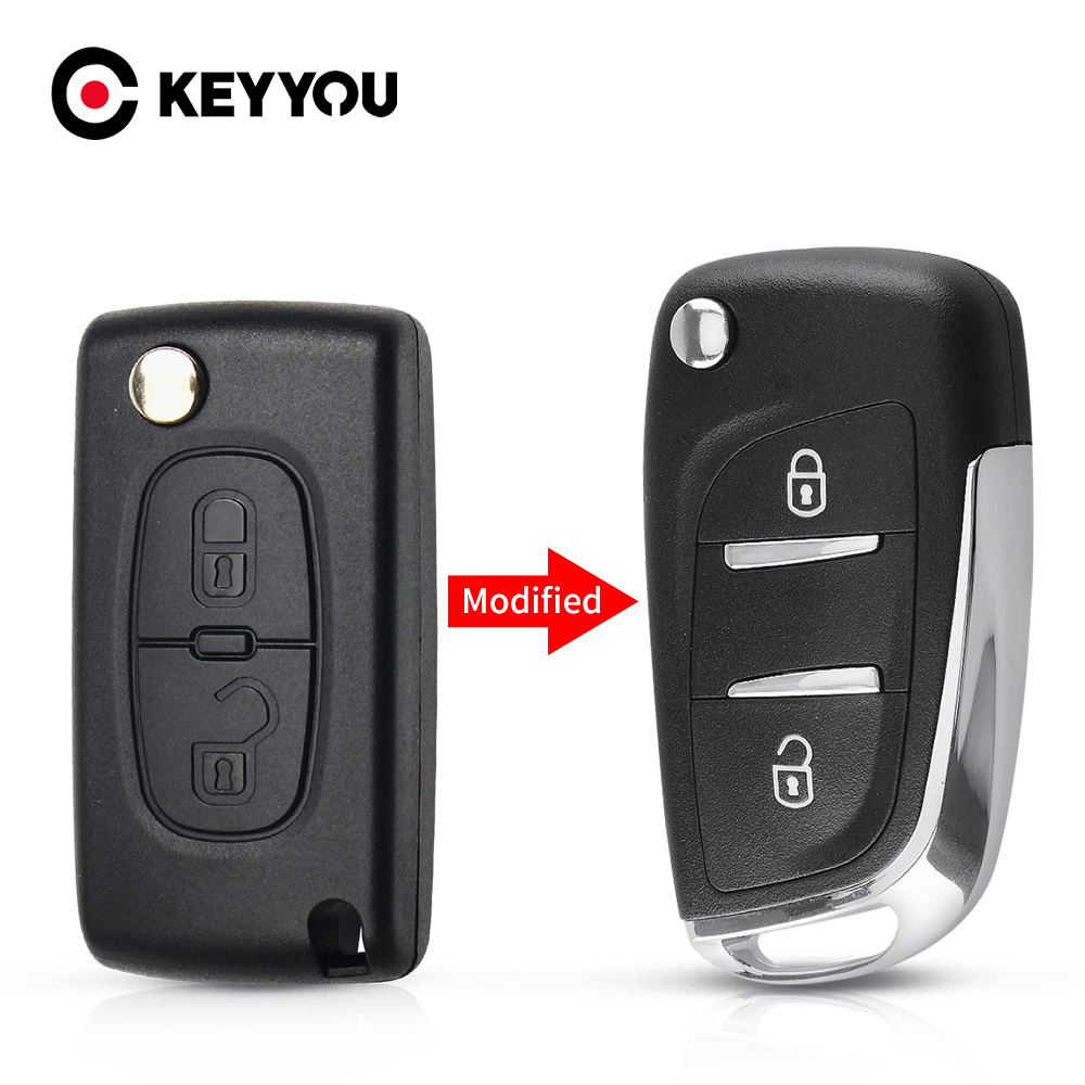 KEYYOU модифицированный чехол для ключей автомобиля CE0536 2/3 кнопки Filp чехол для Peugeot 207 307 407 408 для Citroen C4 C2 HU83/VA2 Blade