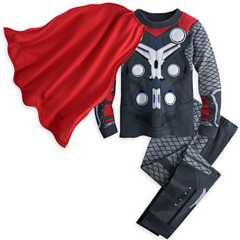 3-8Years Kids Boy Pyjamas Winter Children Funny Superhero Thor Costume With Cloak Pijama Clothing Set Child Sleepwear Longsleeve