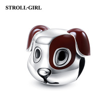 Strollgirl New 925 sterling silver Brown Enamel Animal Beads Cute Dog Head Charms Fit Pandora Bracelet for Women DIY Jewelry