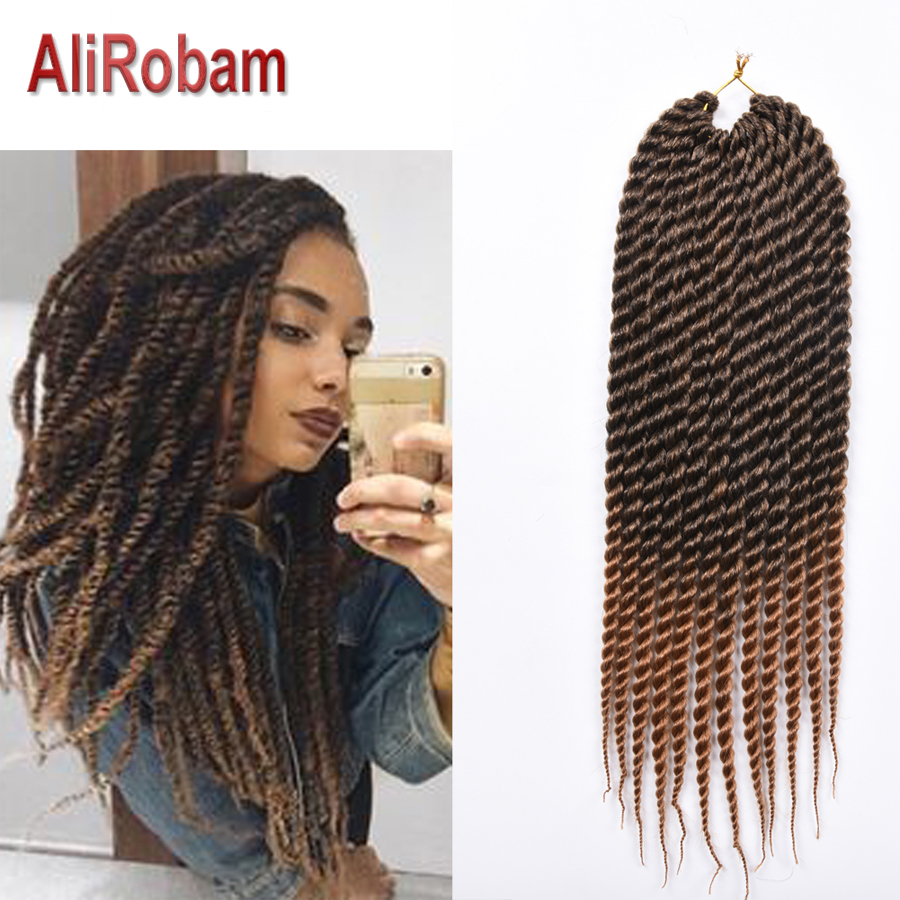 AliRobam Havana Mambo Twist Braid Black Gray brown Crochet Braids Ombre Color Synthetic Braiding Hair Extensions 12 Roots/pack image