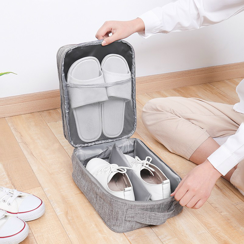Breathable Shoes Storage Bag Travel Sneakers Socks Organizer Boots Slippers Clothing Half Grid Perspective Business Accessories