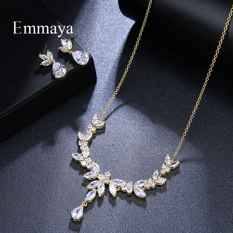 Image 4 - Emmaya Vivid Leaves shape Dazzling Wedding Costume Accessories CZ Crystal Colorful Gift Earrings And Necklace Jewelry SetsBridal Jewelry Sets   -