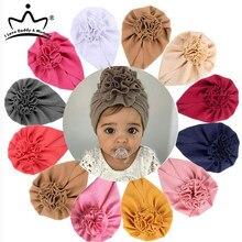 Bandeau à nœud de fleur pour nouveau-né, bandeau en coton doux, Turban, accessoires pour cheveux pour bébés filles