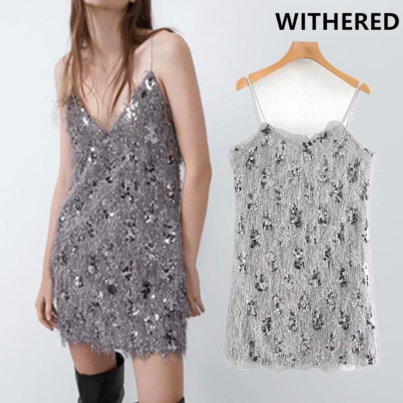 Withered England High Street Sexy Sequins Spaghetti Christmas Party Mini Dress Women Vestidos De Fiesta De Noche Vestidos Blazer