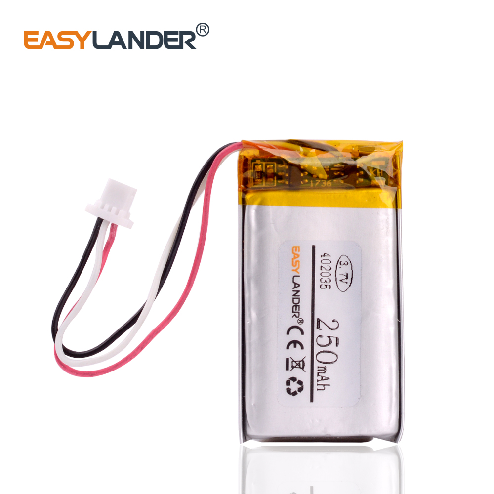 3.7V 250mAh <font><b>402035</b></font> Lithium Polymer LiPo Rechargeable <font><b>battery</b></font> with JST 1.0mm 3pin for Handheld GPS Mp3 GPS bluetooth smart watch image