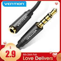 Vention-Cable de extensión auxiliar de Audio, Conector de 3,5mm macho a hembra para Huawei P20, Xiaomi, reproductor de auriculares, extensor de PC, Cable auxiliar