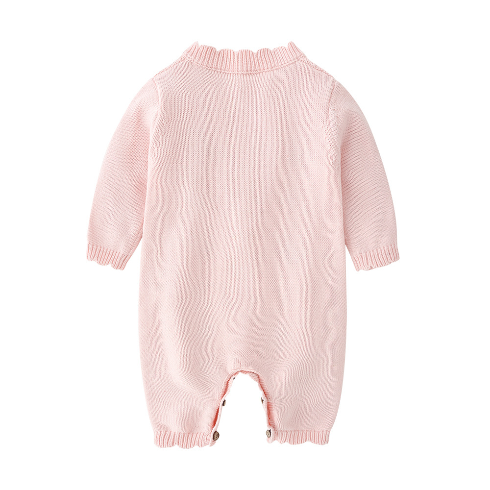 Image 3 - 2019 Spring New Spring And Autumn Outfit Coat Cute Baby Girls Long Sleeve Bodysuit Kids Girls Knitting Costumes For Girls KidsRompers   -