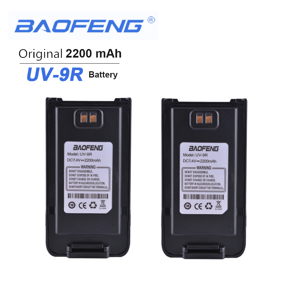 2PCS New Orignial Walkie Talkie Battery 7.4V 2200 MAh For Baofeng Anysecu UV-9R Two Way Radio Phone Accessories Manos Libres