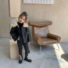 Зимняя кожаная куртка для девочек свободная теплая маленьких