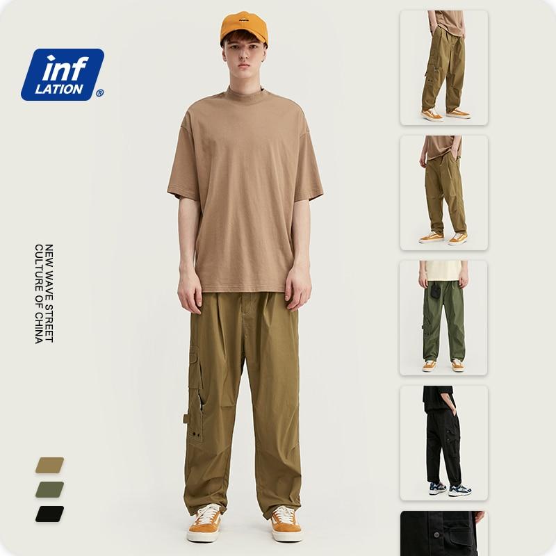 INFLATION New Arrival Streetwear Men Pants Cotton Broadcloth Regular Fit Men Casual Pants Drawstring Straight Mens Pants 3061S20