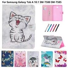 Bonito dos desenhos animados gato filhote de cachorro borboleta capa para samsung galaxy tab a6 a 6 10.1 caso 2016 t585 t580 SM-T585 tablet caso coque funda